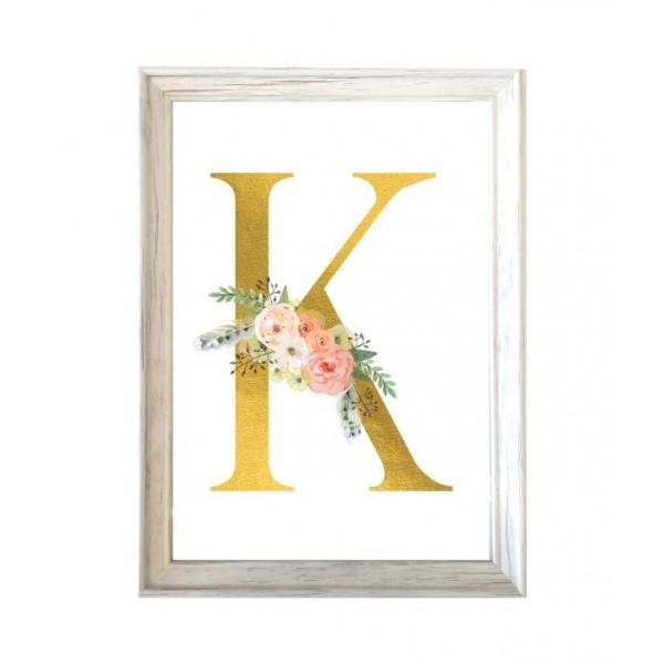 """Κάδρο, πίνακας διακοσμητικός  με  ΜΟΝΟΓΡΑΜΜΑ- ΛΟΥΛΟΥΔΙΑ """"Κ"""", pvc, γυαλί 32x23.5cm"""