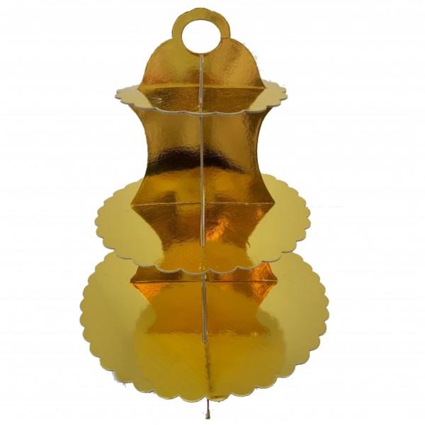 Βάση - δίσκος για γλυκά, τριπλή,διακοσμητική, ΧΡΥΣΗ, χάρτινη, 33x30,5εκ