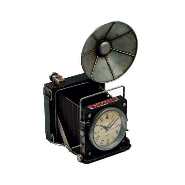 Διακοσμητική  vintage  φωτογραφική μηχανή, μολυβοθήκη - ρολόϊ, 21.5 x 14.5 x 24.5εκ
