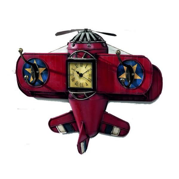 Διακοσμητική vintage κρεμάστρα αεροπλάνο - ρολόϊ  PARISIS 30 x 11 x 39εκ