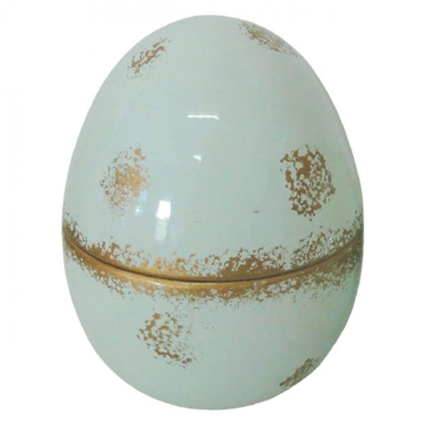 Αυγό κεραμικό με καπάκι βεραμάν με χρυσό 13x13x17εκ