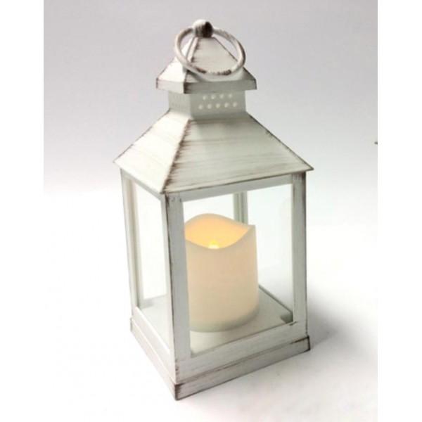 Διακοσμητικό ξύλινο φαναράκι με κερί εσωτερικού και εξωτερικού χώρου και φωτισμό LED 10x25cm με Λαβή