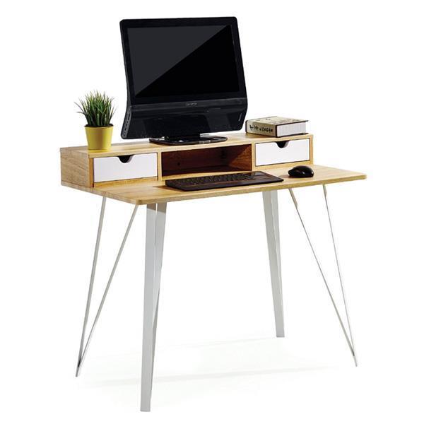 Γραφείο υπολογιστή καφέ με δυο λευκά συρτάρια Υ87x100x60εκ. βάθος