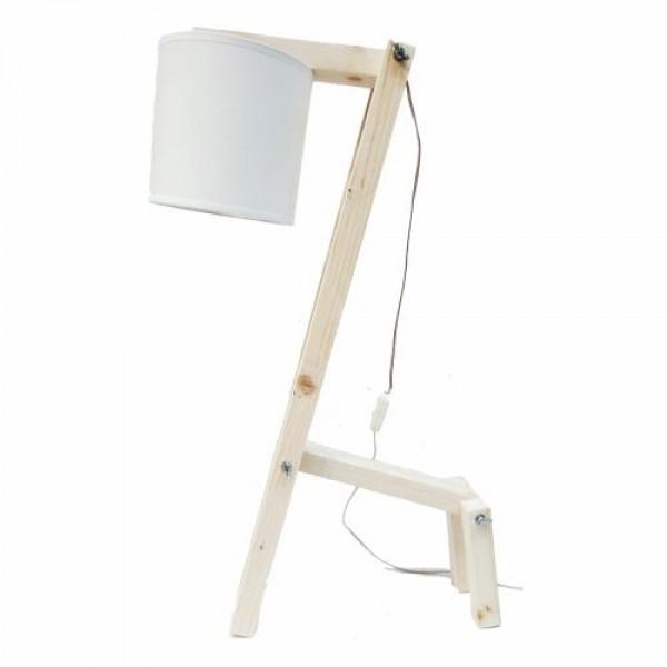 Φωτιστικό γραφείου επιτραπέζιο με ξύλινο βραχίονα, φυσικό χρώμα, λευκό καπέλο, πολυλειτουργικό E14, 80x11x30cm