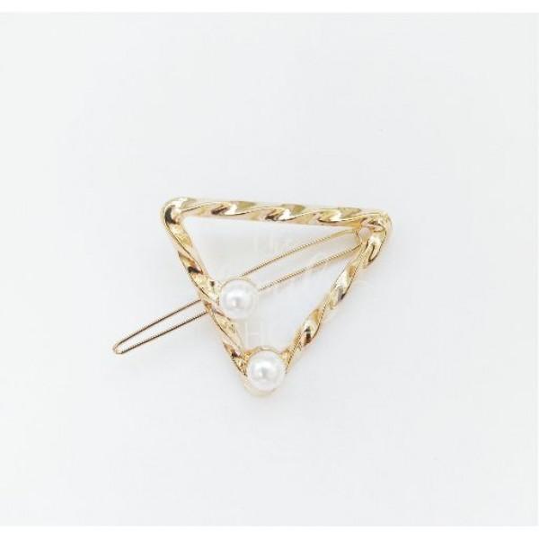 Κλίπ μαλλιών τρίγωνο χρυσό με πέρλες 4εκ