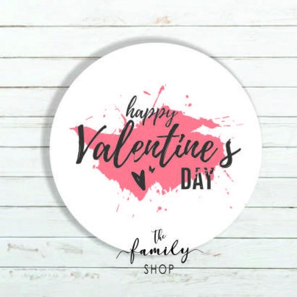 Αυτοκόλλητο ΗΑPPY VALENTINE  DAY  pink 4x4εκ