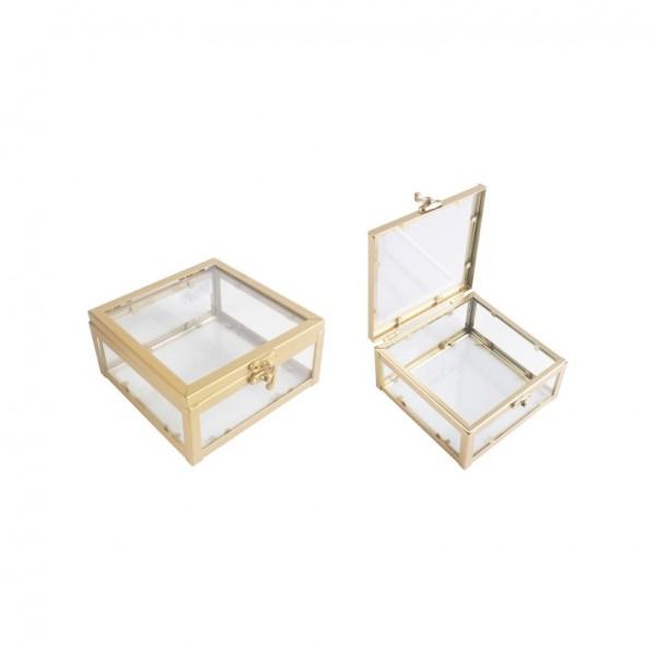 Γυάλινο κουτάκι χρυσό με καπάκι ,6x12x12cm
