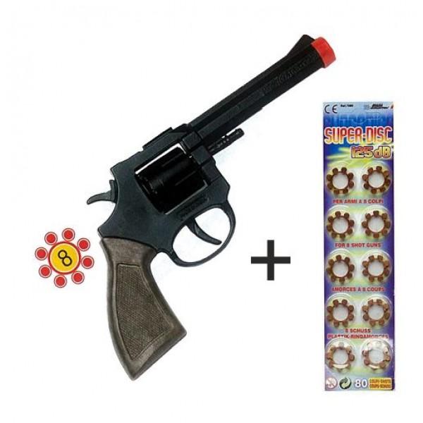 Αποκριάτικο οχτάσφαιρο πλαστικό όπλο και καψούλια , 21εκ x7,5εκ