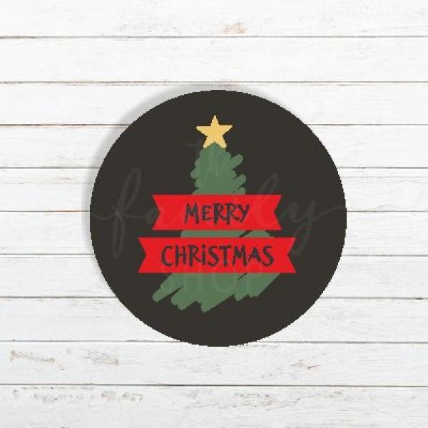 Ετικέτα χριστουγεννιάτικη MERRY CHRISTMAS  4x4cm