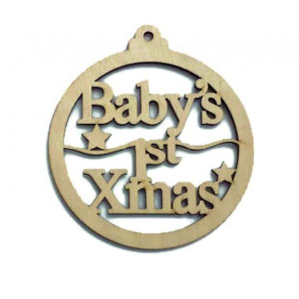 Χριστουγεννιάτικη ξύλινη μπάλα στολίδι BABY'S FIRST CHRISTMAS, 10εκ