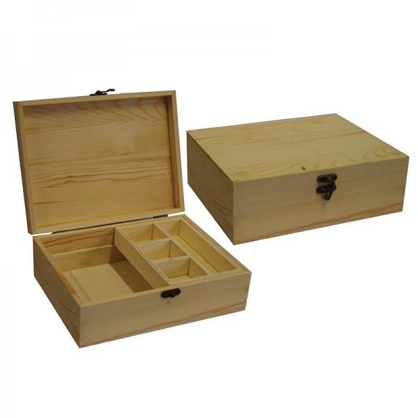 Κουτί ξύλινο με κλείστρο , 5 θήκες,  25x19,2x8,5εκ.