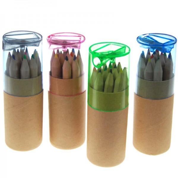 Ξυλομπογιές μίνι με ξύστρα σε κύλινδρο 10,5x3,5εκ