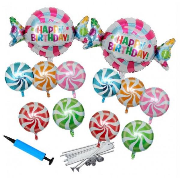 Μπαλόνια - Happy Birthday & LOLLIPOP-ΤΡΟΜΠΑ-ΚΑΛΑΜΑΚΙΑ, 25τεμ
