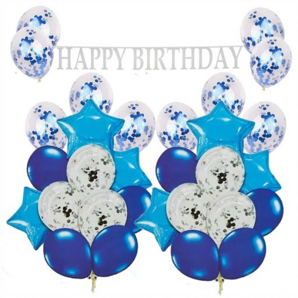 Μπαλόνια - Happy Birthday - σετ γενεθλίων  ΜΠΛΕ- ΑΣΗΜΙ, 33τεμ