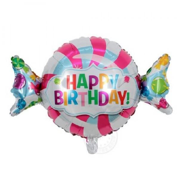 Μπαλόνι- Happy Birthday, foil , καραμέλα 48x68cm
