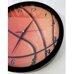 Ρολόι τοίχου 30εκ  μαύρο πλαίσιο με τζάμι, ΜΠΑΛΑ ΜΠΑΣΚΕΤ