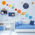 Ρολόι τοίχου με ασημί πλαίσιο και τζάμι, ΠΛΑΝΗΤΕΣ 30εκ