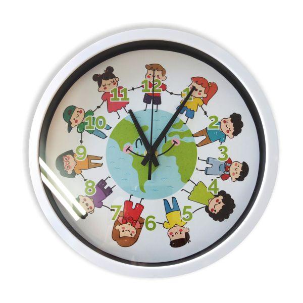 Ρολόι τοίχου 25εκ  διάμετρο, ΠΑΙΔΙΑ - ΓΗ