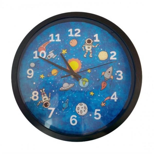 Ρολόι τοίχου με ασημί πλαίσιο και τζάμι, ΠΛΑΝΗΤΕΣ 24,5εκ