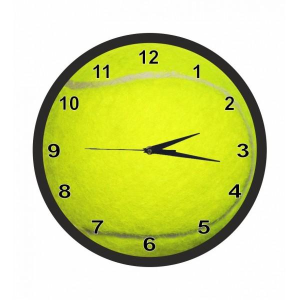 Ρολόι τοίχου 30εκ  μαύρο πλαίσιο με τζάμι, ΜΠΑΛΑ TENNIS