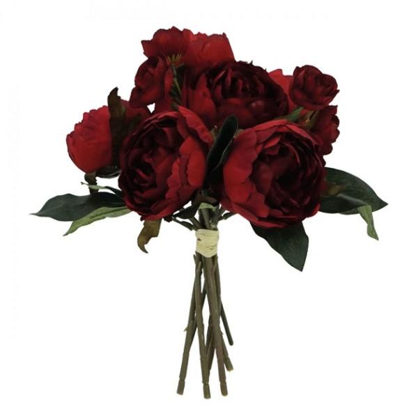 Λουλούδια μπουκέτο  παιώνια ΜΠΟΡΝΤΩ 32Χ27εκ