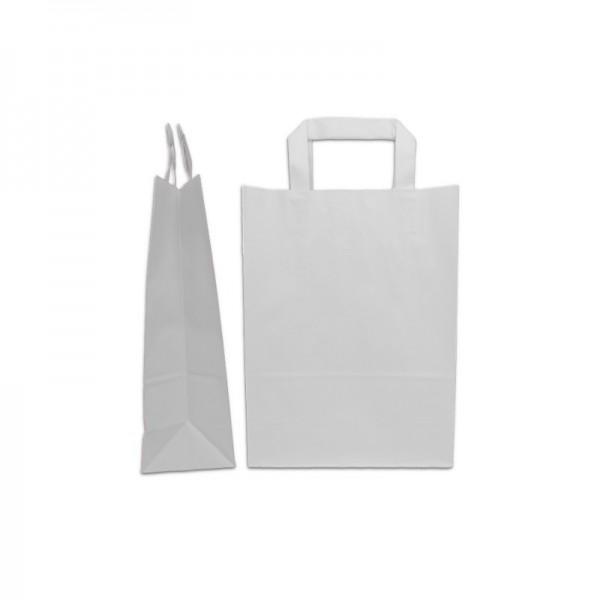 Χάρτινη τσάντα λευκή με πλακέ χερουλάκι 22x18x8εκ