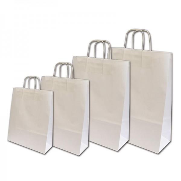 Χάρτινη τσάντα λευκή με στριφτό χερουλάκι 22Χ18Χ8εκ